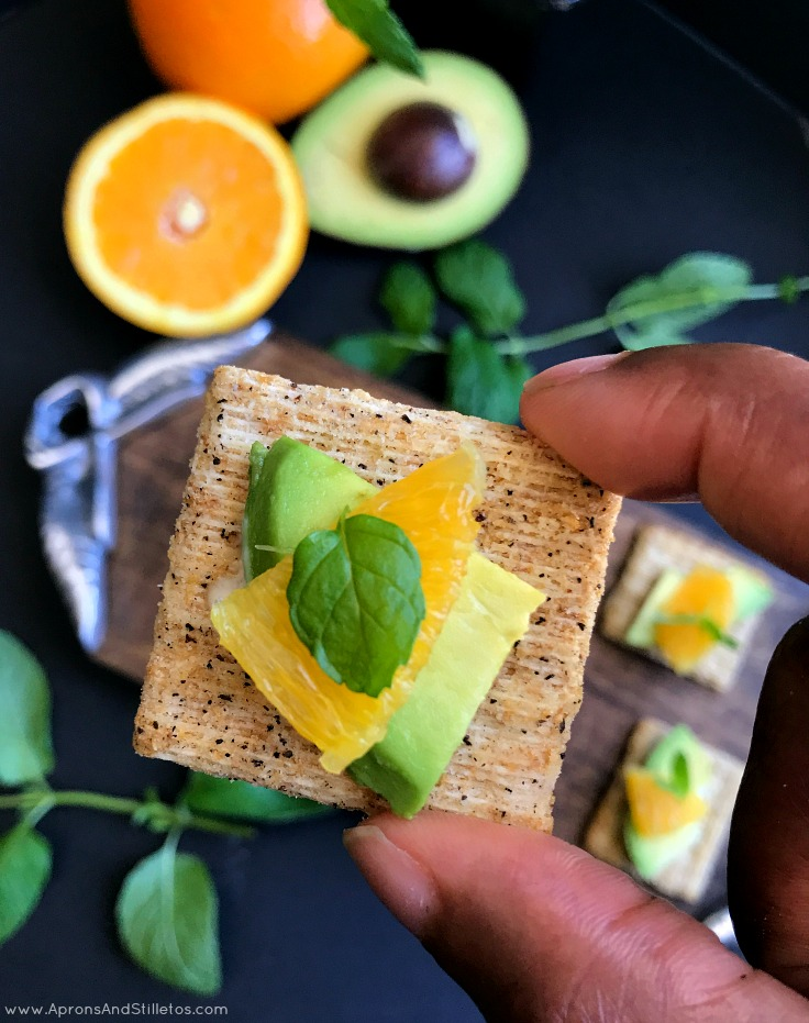 Orange, Avocado & Mint Crackers with a Mint Aioli