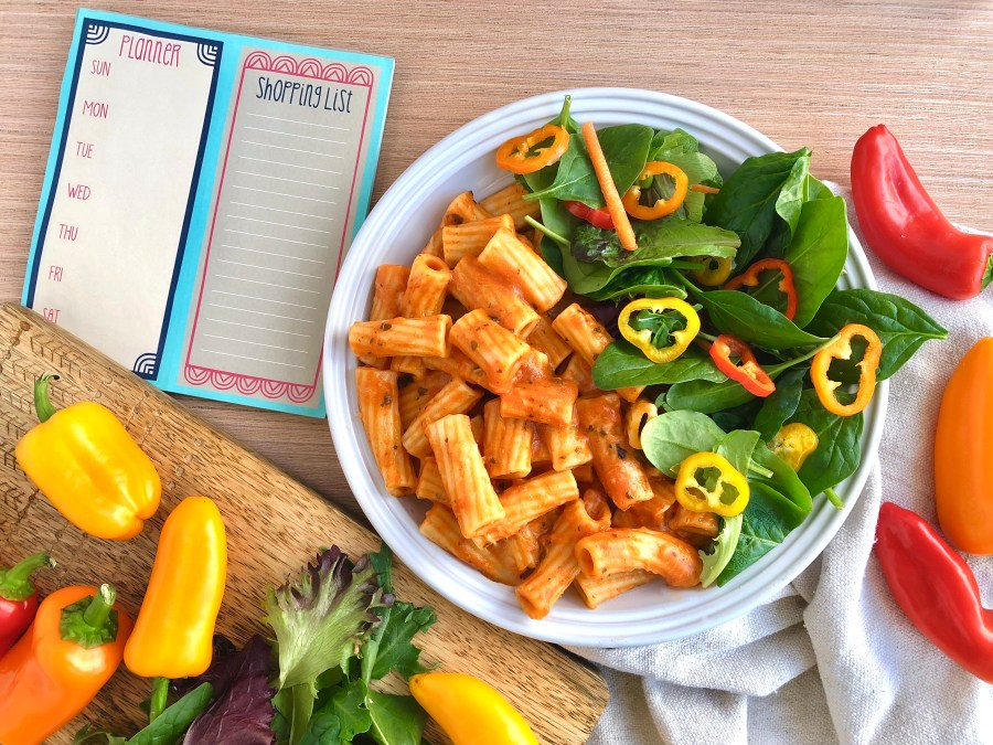 Meatless Monday Five Cheese Rigatoni and Triple Pepper Salad