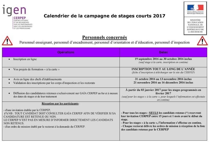 calendrier cerpep 2017
