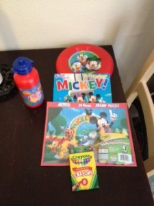 This find was purchased at Walgreens for a little over 5 dollars. It was an Easter Basket which included a puzzle, coloring book, crayons, water bottle, frisbee, and sidewalk chalk (was being used at the time)