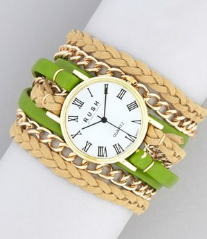 rush gold and green bracelet