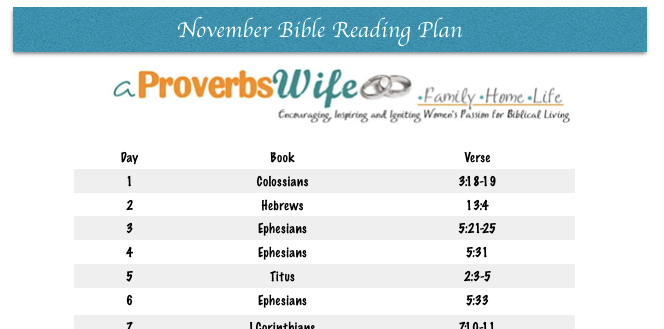 FREE Printable November Bible Reading Plan |1 Verse a Day