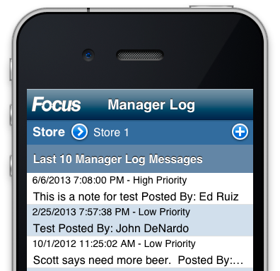 Focus POS Mobile Manager Log