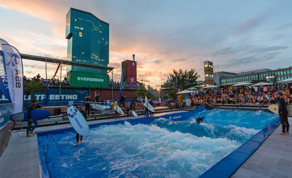 APS Green Site: A wave pool utilizing shipping containers in Zurich