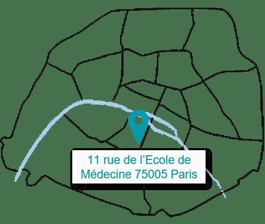 Carte vide de Paris par arrondissement - Localisation de notre M2A avec adresse