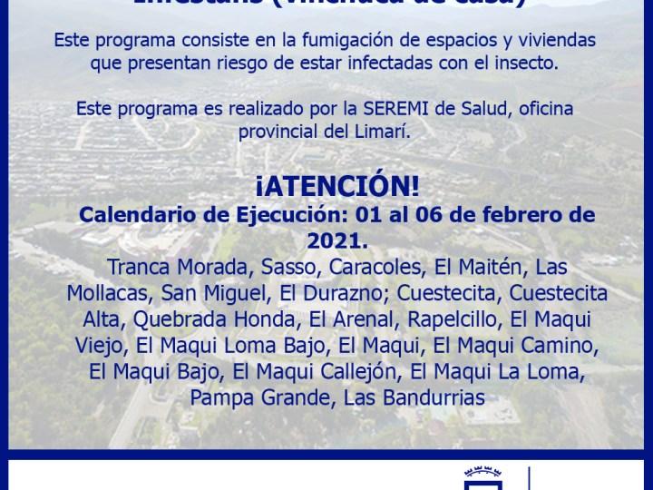 Red de Salud Informa calendario de fumigación para eliminación de la vinchuca de casa.