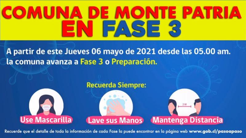 Comuna de Monte Patria Avanza a #Fase3 del Plan #PasoaPaso