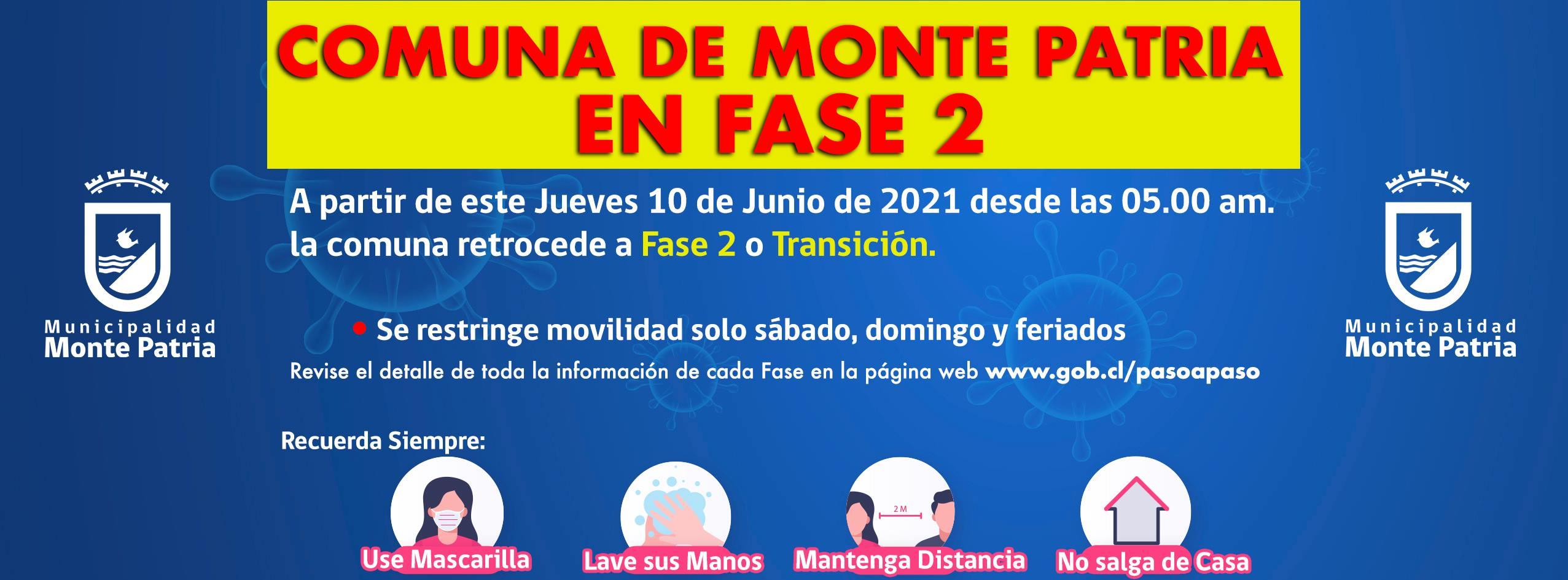 ¡Atención! Comuna de Monte Patria retrocede a #Fase2 del Plan #PasoaPaso