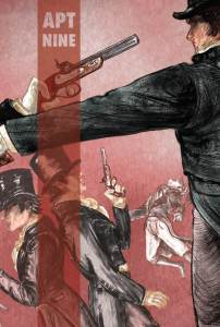 Issue Nine cover, sets of white men in top hats holding guns, striking various poses communicating an in-progress duel