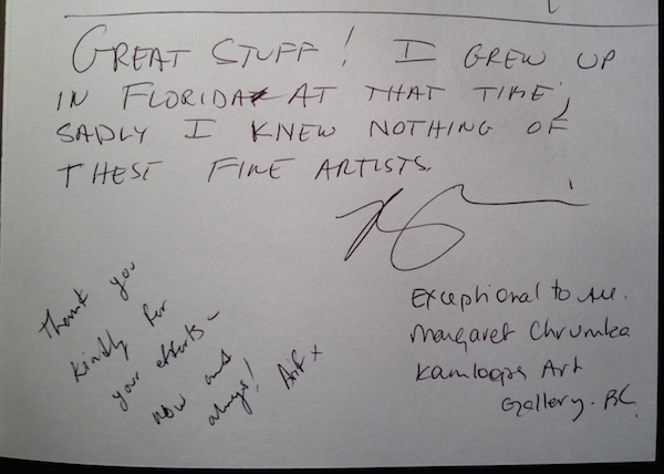 Guest book at SAW Gallery.