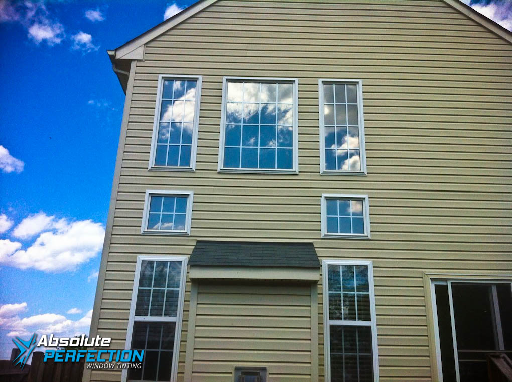 Outside Look Of Home Window Tinting For Glare Reduction By