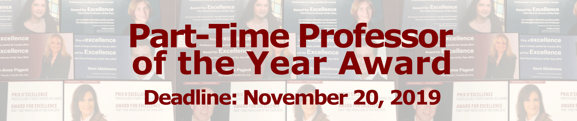 Image communicating the deadline of the Part-Time Professor of the Year award: November 20, 2019
