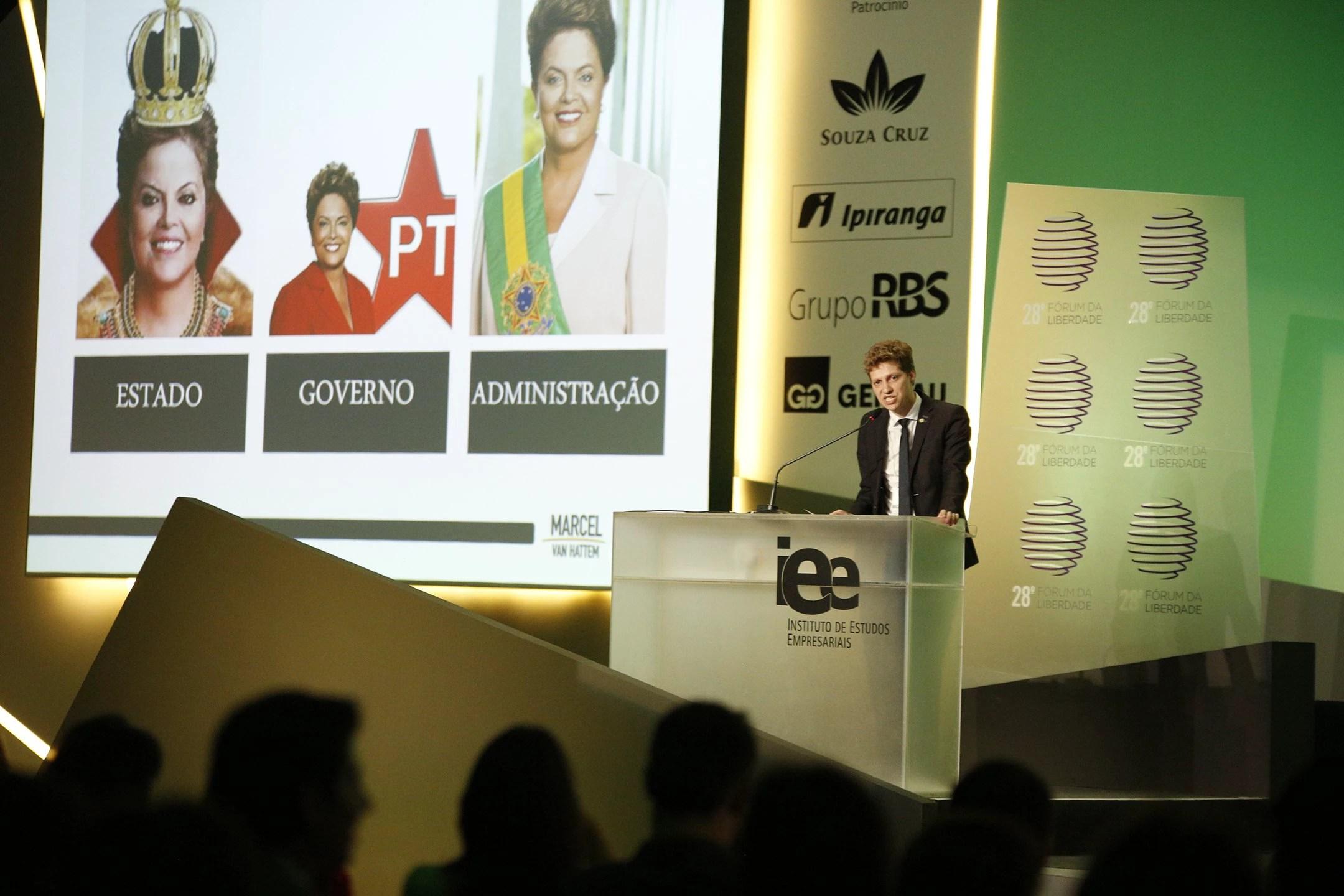 Marcel Van Hattem, deputado do PP-RS, apresenta sua teoria sobre o governo brasileiro. Foto: Fernando Conrado