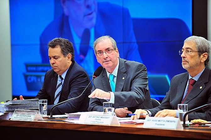 O presidente da Câmara, Eduardo Cunha (PMDB-RJ), em depoimento na CPI da Petrobras, em março