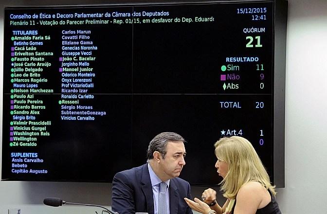Placar eletrônico mostra o resultado da votação do parecer no Conselho de Ética