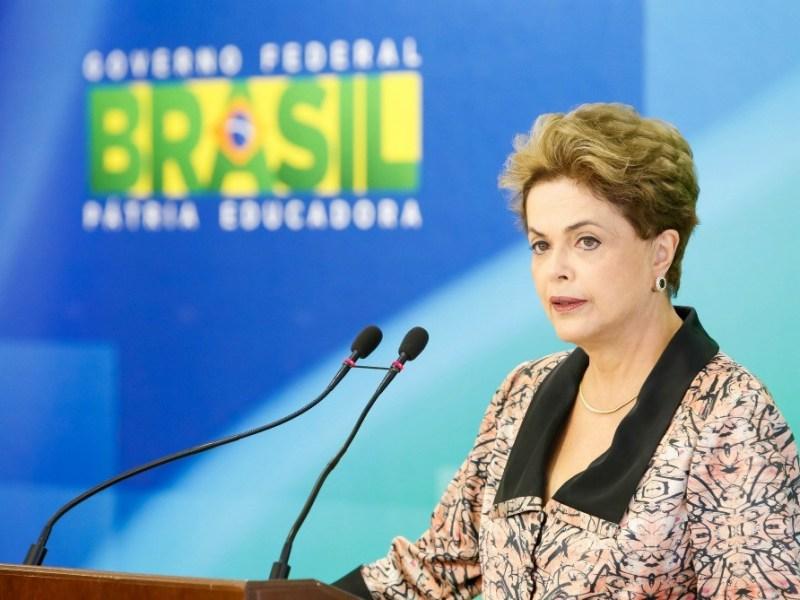 A presidente Dilma Rousseff, durante coletiva de imprensa