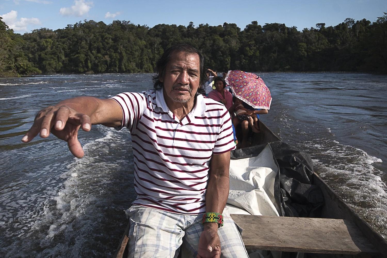 Juventino Kaxuyana, 54 anos, liderança e cacique da Aldeia Santidade (Foto: Ana Mendes)