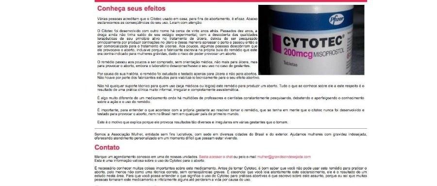 Print do site que mostra os supostos efeitos do Cytotec