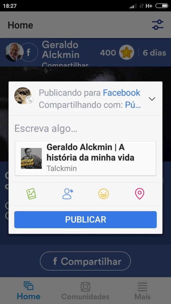 Usuário é incentivado a compartilhar história de Geraldo Alckmin sem poder ler o inteiro teor do conteúdo