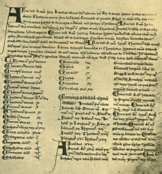 gravenlijst 13e eeuw