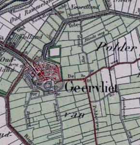 Detail uit de kadastrale kaart van Geervliet, 19e eeuw.