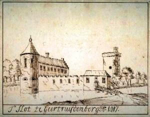 Een niet erg betrouwbare tekening van het kasteel van Geertruidenberg zoals het er in 1417 uitgezien zou hebben (kunstenaar onbekend).