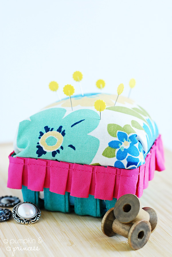 diy berry basket pincushion