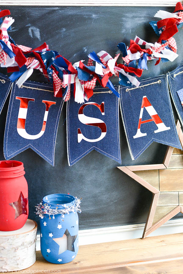 DIY Patriotic Denim Banner Tutorial | A Pumpkin and a Princess