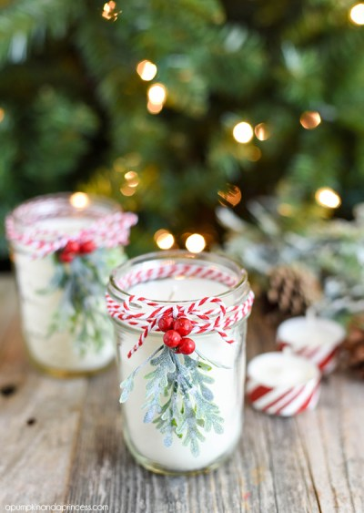 DIY Candles Peppermint Mason Jar Candle Holly Christmas Tree Wax and Wicks Home Accessories