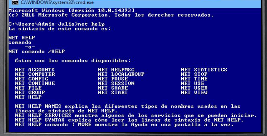 Como usar los comandos net en Windows