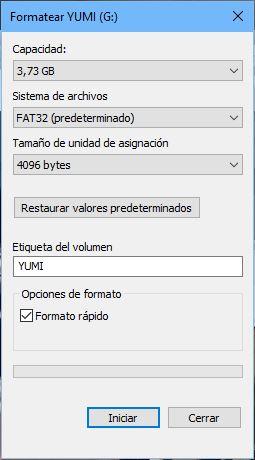 Yumi_formatear USB