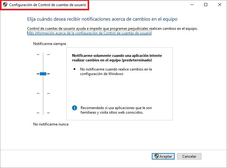 Activar_desactivar UAC en windows 10
