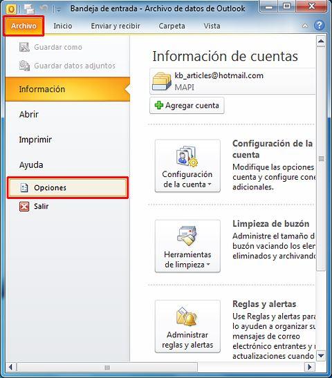 Cómo resolver problemas con la búsqueda en Outlook_Captura1