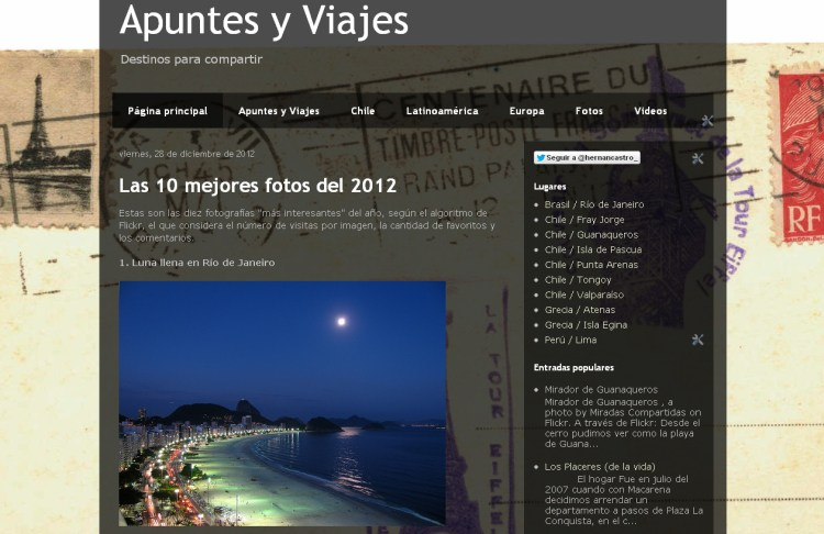 Apuntes y Viajes, año 2012