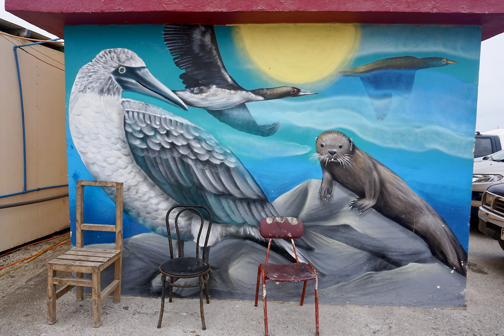 Mural de fauna local en Muelle San Agustín