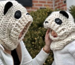 Hooded Panda Cowl- Free Pattern (in 3 sizes)