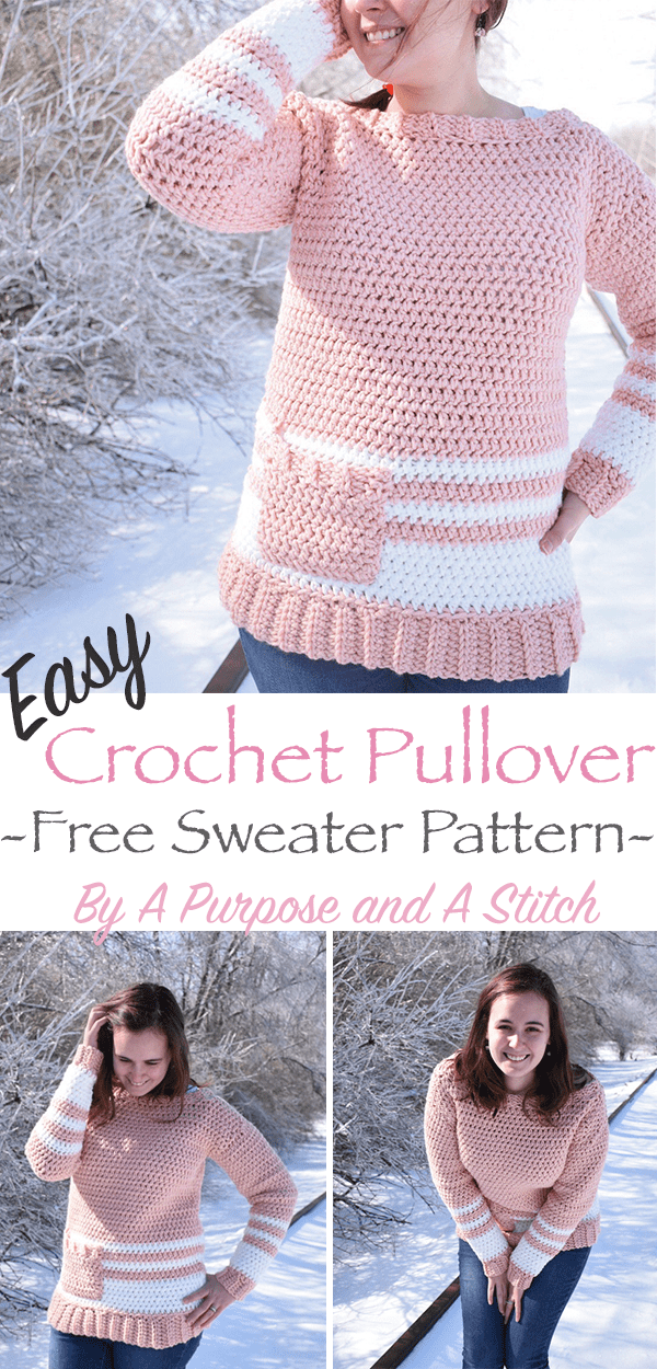 Easy Crochet Pullover Free Crochet Pattern A Purpose And A Stitch