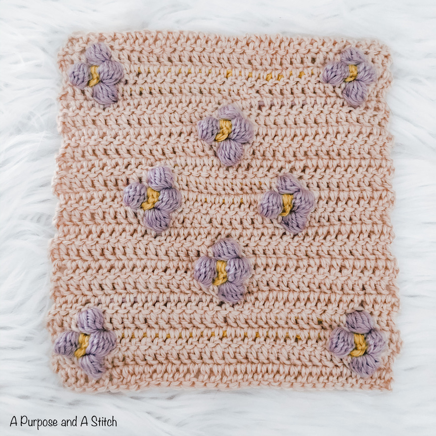 Flower Bobble Blanket Square