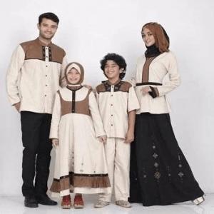Baju Muslim Keluarga Motif Dwiwarna
