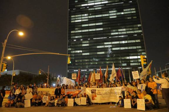 in front of UN