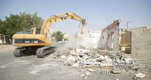 أمانة الجوف تزيل عقارات لتوسعة الشوارع