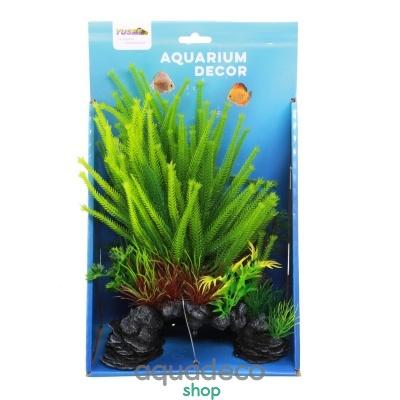 Купить Искусственное растение Yusee Зеленые растения на скале 18x9x30см в Киеве с доставкой по Украине