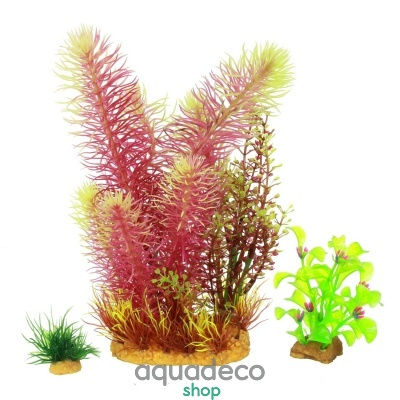 Купить Искусственное растение набор Yusee - красный + зеленые 3шт в Киеве с доставкой по Украине