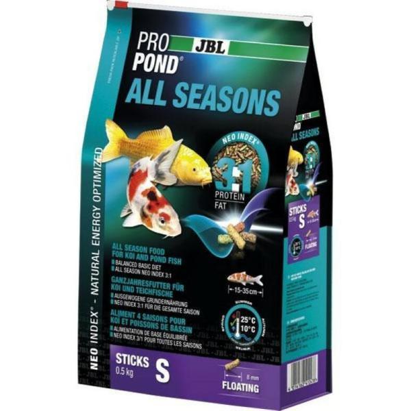 JBL ProPond All Seasons корм для карпов Кои и прудовой рыбы всесезонный S, 500 г