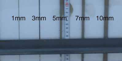 隙間 1mm 3mm 5mm 7mm 10mmの充填状況