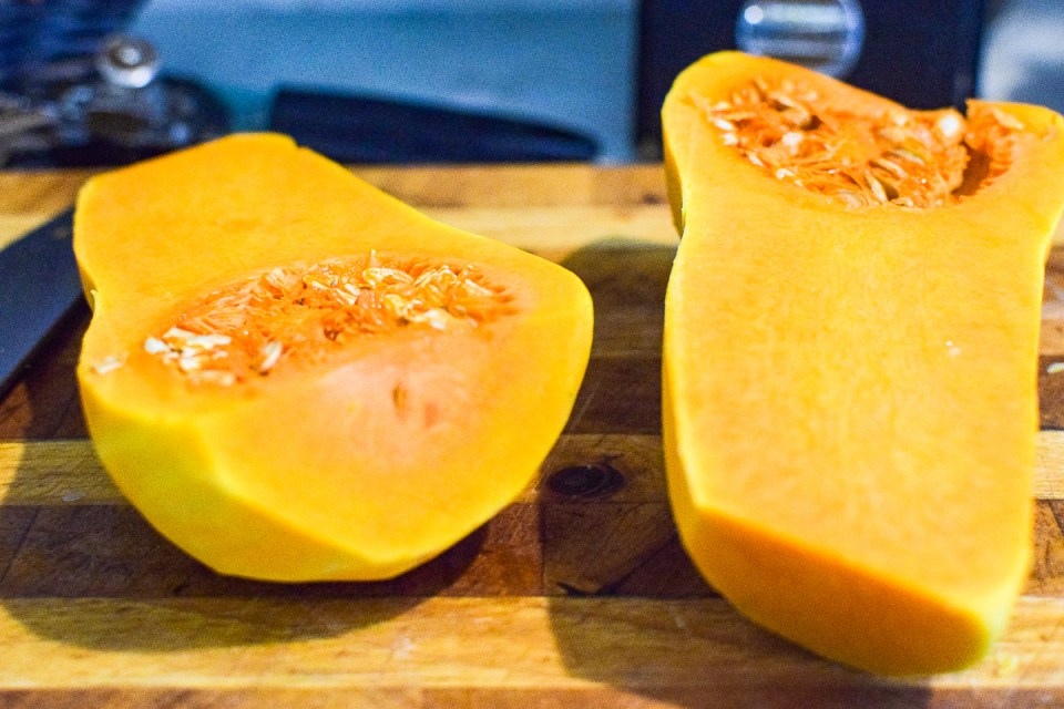 butternut squash on a cutting board