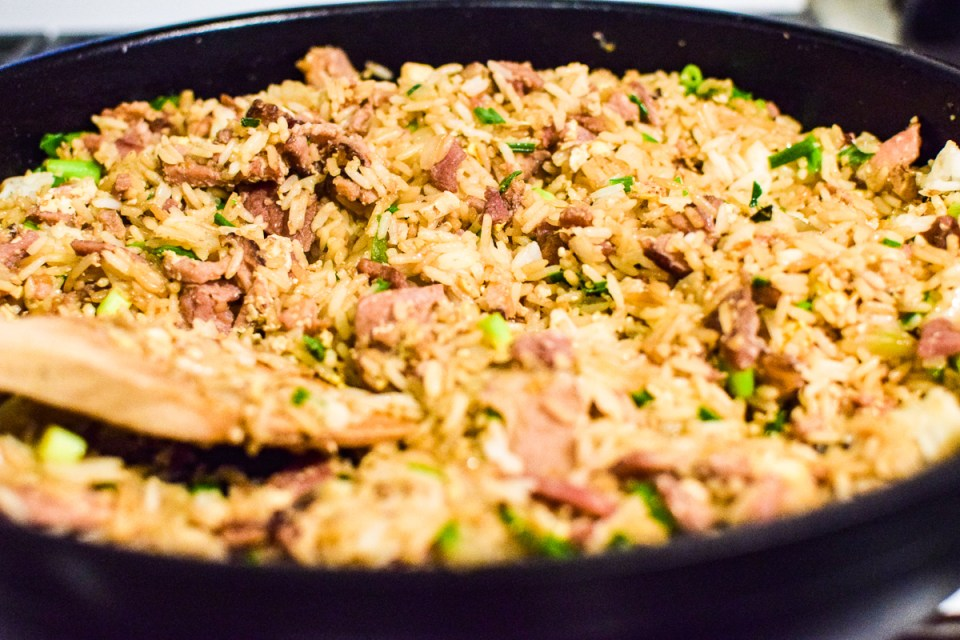 easy pork fried rice in a pan