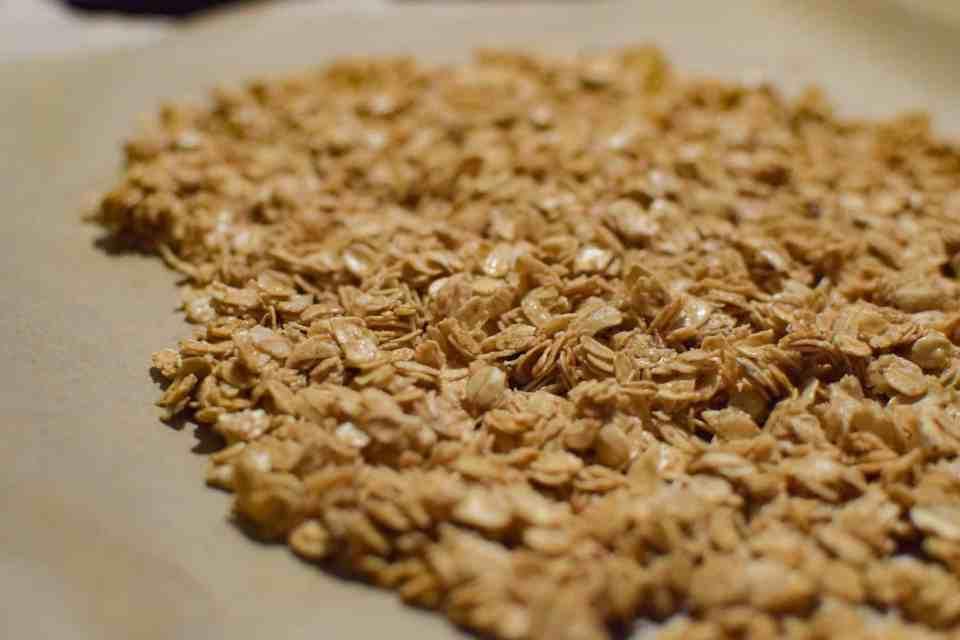 classic granola on a baking sheet
