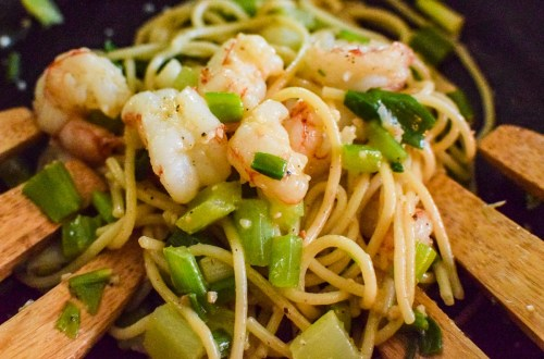 asian inspired noodles upclose
