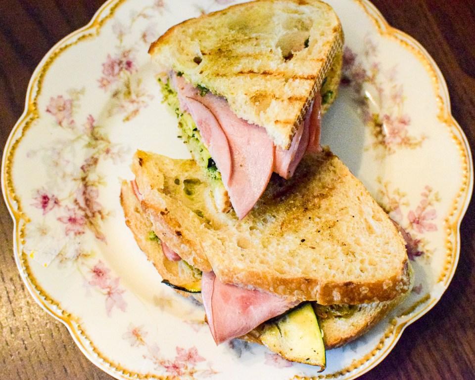 sourdough zucchini and ham panini